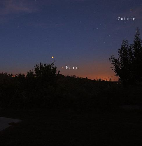Saturn in the night sky