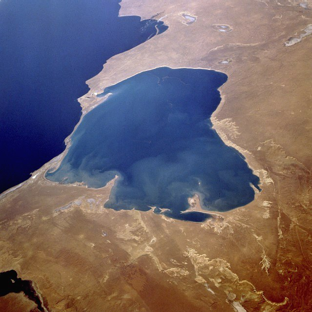 Aerial view of a coastal lagoon, a lake formed by deposition