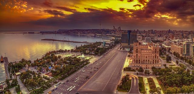 Caspian sea in Baku, Azerbaijan